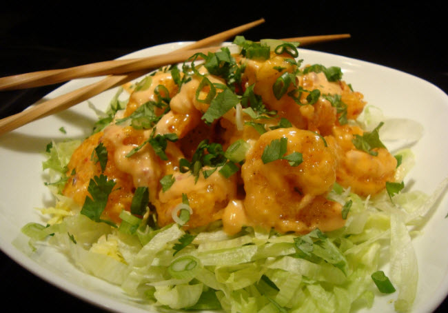 Bonefish Grill BangBang Shrimp recipe when finished ready for serving