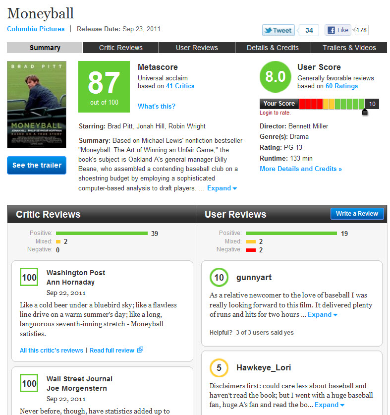 The best movie and TV review website is Metacritic