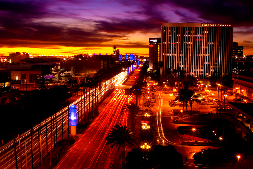 Los Angeles corporate photographer Gregory Mancuso shot this photo of the LA airport business district at night - 5