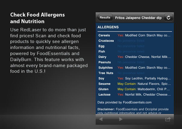 RedLaser is the best app for comparing product prices & it delivers food nutrition, allergen info, finds library books - allergen photo