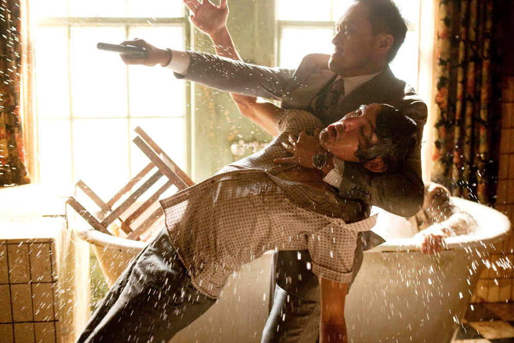 Joseph Gordon-Levitt in an action scene from the movie Inception