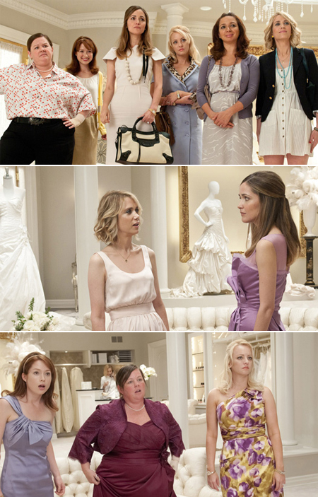 Bridesmaids movie cast in several movie scenes at wedding
