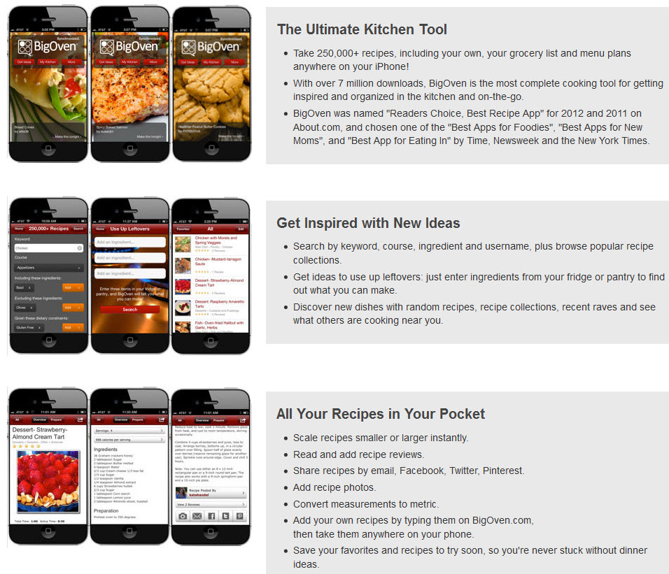 BigOven app has 250,000 recipes, your grocery list, menu plans, screenshot 1