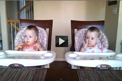 In this youtube funny video clip baby-twins-rock-out-to-dad's-guitar and laugh