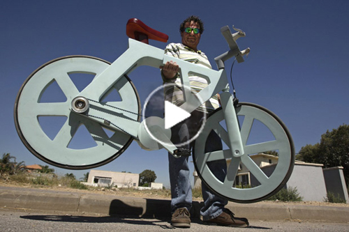 Free funny video clip of inventor-Izhar-Gafni building his-cardboard-bicycle
