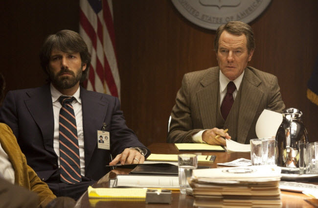 Bryan Cranston and Ben Affleck acting in Argo film scene in Washington
