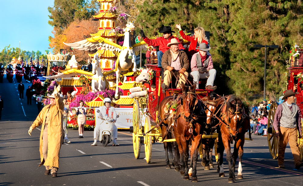 Corporate photographer shot the Wells Fargo stagecoach in the Rose Bowl parade that took place in the LA area
