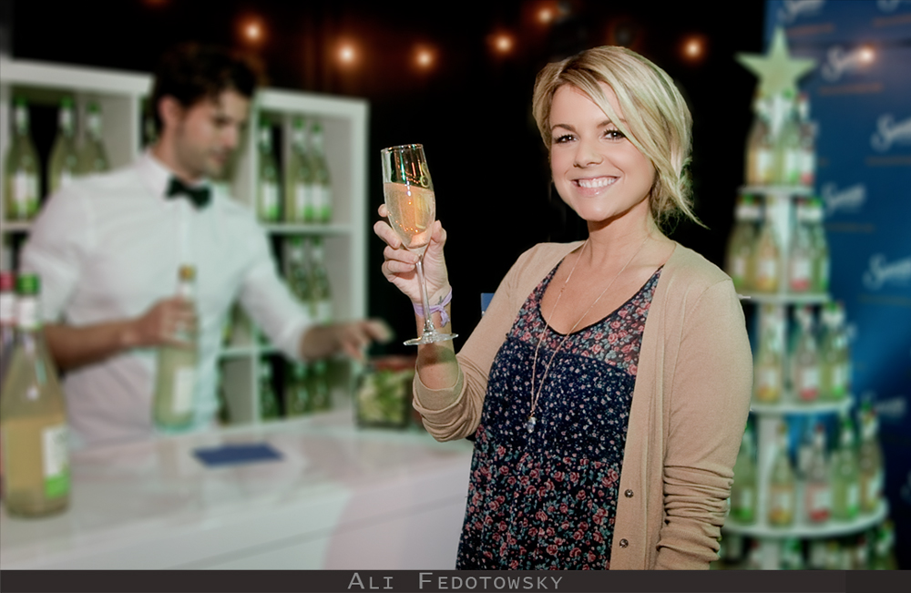 Sauza Tequila hired corporate photographer Greg Mancuso to shoot Ali Fedotowsky at their tequila tasting bar at the American Music Awards