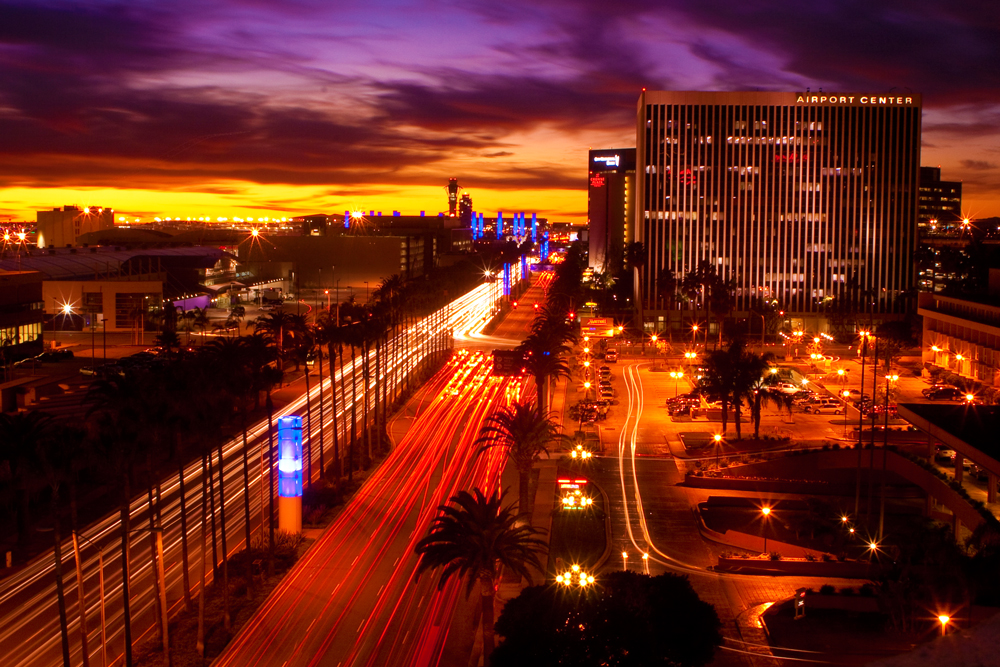 This cityscape photo of the LAX airport district at night was created by one of the top ten photographers in Los Angeles
