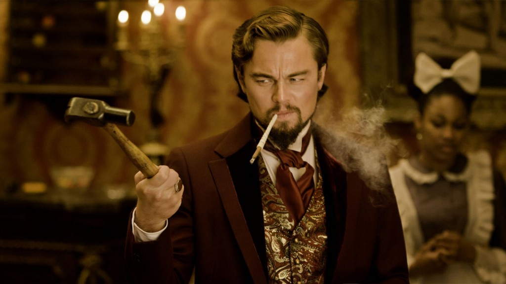Django Unchained movie still with actor Leonardo DiCaprio acting in a scene