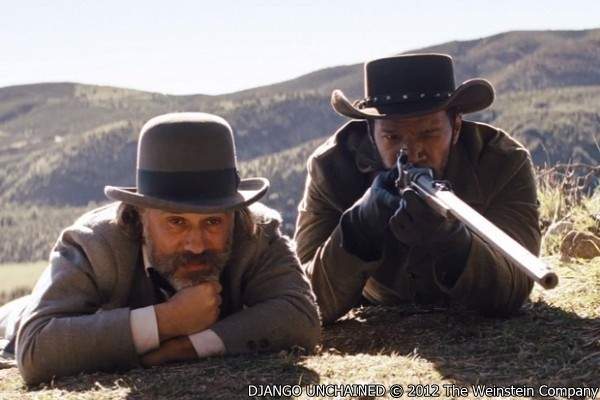 Django Unchained scene with christoph_waltz_stars_as_dr._king_schultz_and_jamie_foxx_stars_as_django_2