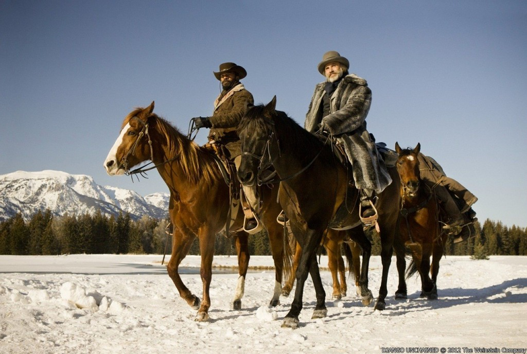 jamie_foxx_stars_as_django_and_christoph_waltz_stars_as_dr._king_schultz in a scene of Django Unchained
