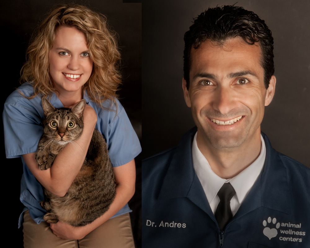 Executive portraits of veterinarians at their Los Angeles office with dog and cat by photographer Greg Mancuso