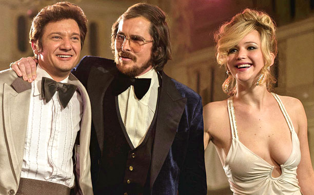 American Hustle movie cast--actors Christian Bale, Jeremy Renner, Jennifer Lawrence