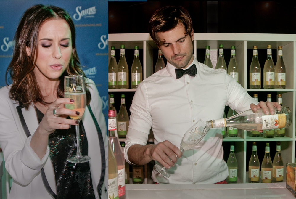 Event-Photography-Los-Angeles-American-Music-Awards-celebrity-Lacey-Chabert drinking margaritas w bartender.photo-by-Los-Angeles-event-photographer
