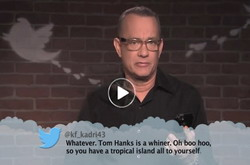 Humor---Celebrities-read-mean-tweets-on-Jimmy-Kimmel-Live-TV-show-is-a-funny-youtube-video-clip---Tom-Hanks T