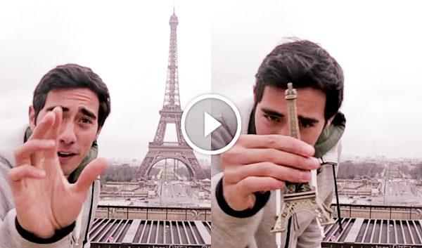 Zach King, Vine & funny Youtube illusionist comedian steals Eiffel Tower in France video-2